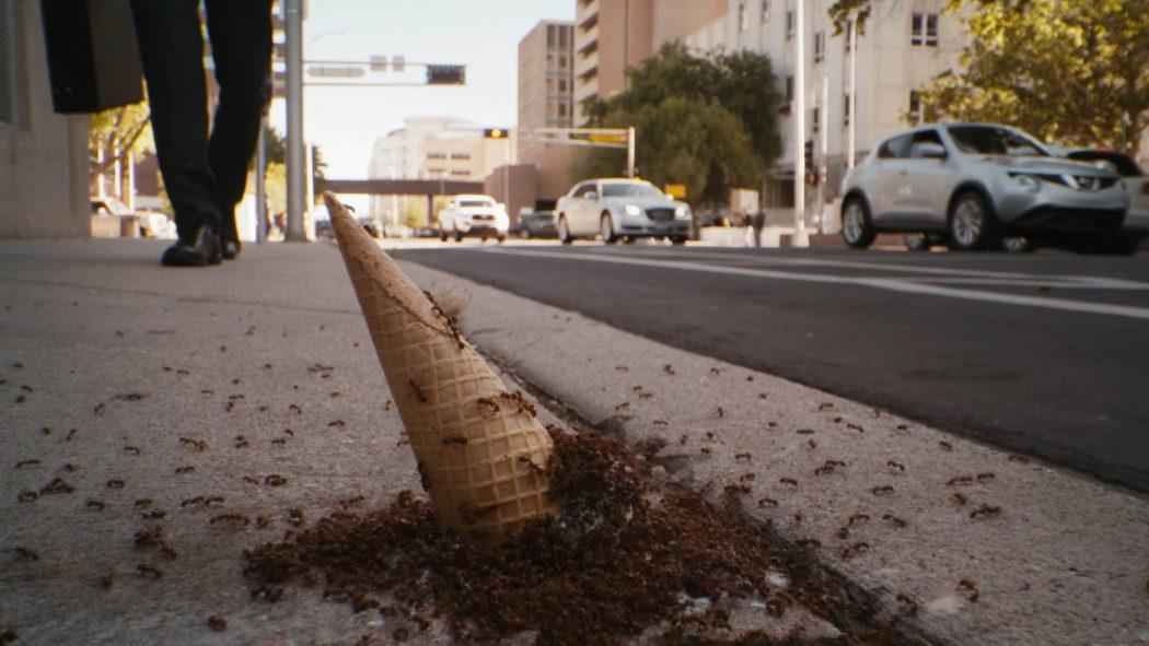 Um sorvete de casquinha caído numa calçada cheio de formigas de perto