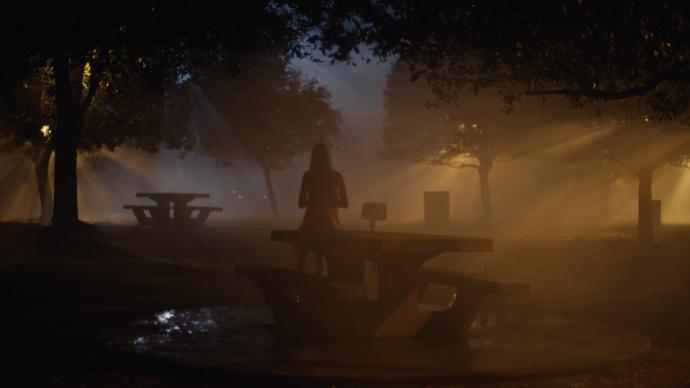 Jules esperando no bosque a noite