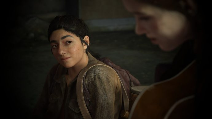 The Last of Us Parte II: Dina admirando Ellie enquanto ela toca Take on Me
