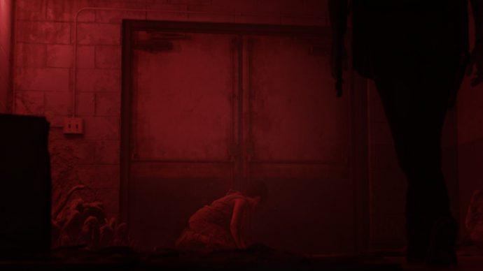 The Last of Us Parte II: Ellie indo em direção á Nora que esta sufocando pelos esporos da sala