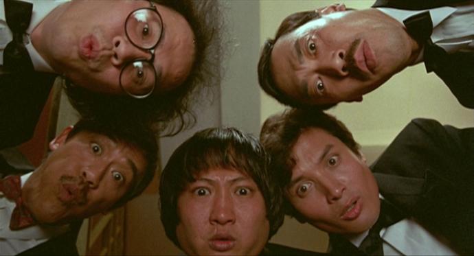John Shum Kin-Fun, Richard Ng, Sammo Hung, Charlie Chin e Stanley Fung.