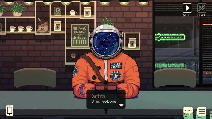 O alienígina Niel, vestido como um astronauta conversa com o barista