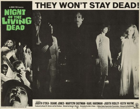 Lobby Card onde vemos zumbis e o título Night of the Living Dead em letras estilizadas