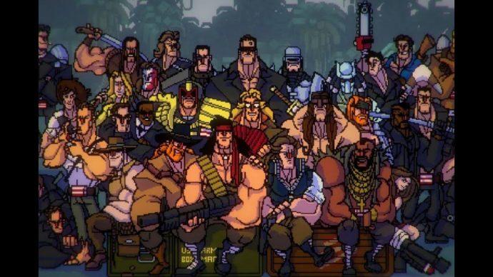 Uma imagem simulando uma foto que diversos personagens de filmes de ação posam juntos..