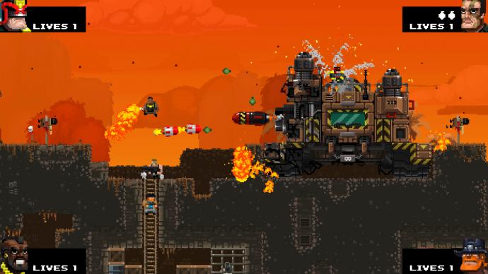Cena mais intensa de Broforce, o céu está alaranjado, há mísseis e fogo na cena.