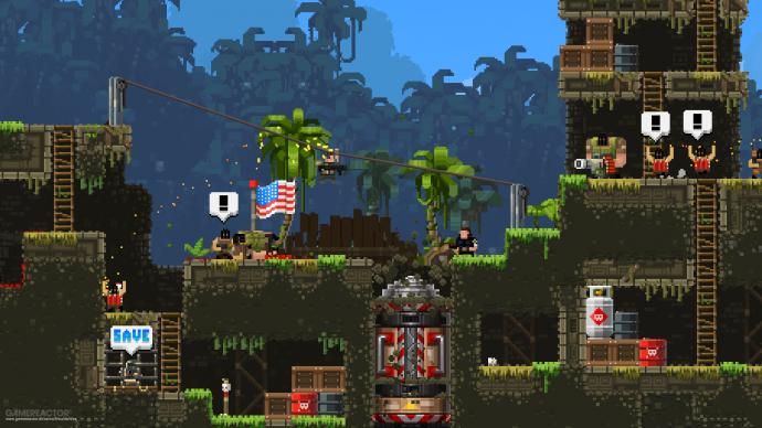 Imagem de Broforce, um jogo 2D com gráficos pixelados.