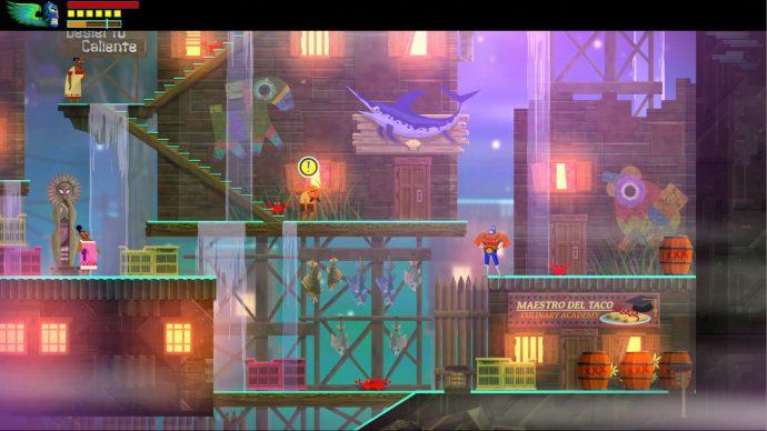 Imagem de Guacamelee!, onde se v^alguns personagens em um cenário que simula um porto.