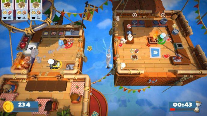 Os personagens um dos jogos da franquia Overcooked! coziam em balões.