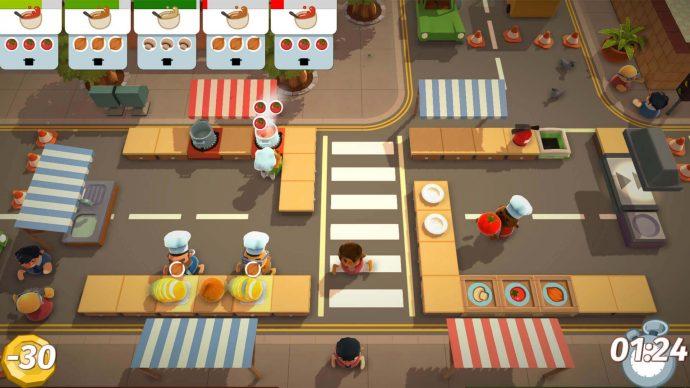 Os personagens de um dos jogos da franquia Overcooked! coziam em plena rua.