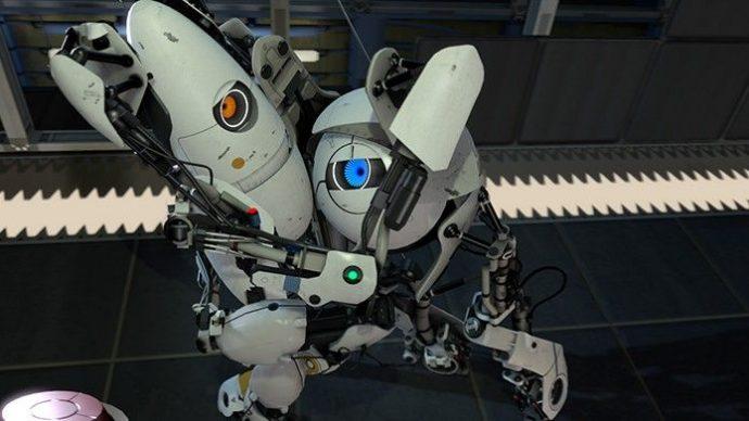 Dois rôbos, personagens de um dos jogos da franquia Portal 2, lutam e olham em direção do jogador.