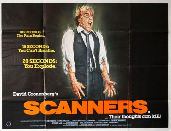 Poster clássico de Scanners, onde há um desenho do personagem Michael Ironside com os olhos totalmente brancos e com diversas veias saltando ao longo do corpo