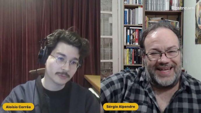 Imagem de uma das lives do canal do crítico, a esquerda Aloíso Corrêa e a direita Sérgio Alpendre.